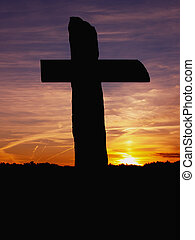 Silhouette at sundown of the 142nd PA monument at the Gettysburg National Military Park