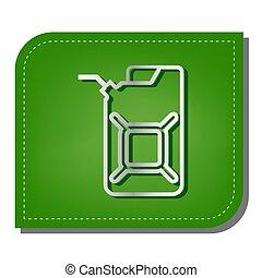 sombra, aceite, plata, ecológico, remendado, leaf., signo., lata, línea, jerry, verde, illustration., oscuridad, jerrycan, icono, gradiente