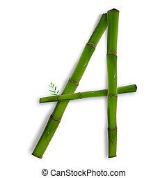 sombra, alfabeto, sobre, um, letra, capital, branca, bambu