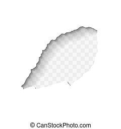 sombra, branca, vetorial, papel rasgado, projete elemento, buraco