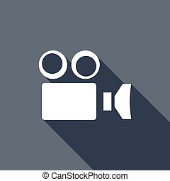 sombra, câmera, camcorder, longo, ícone