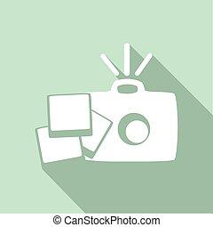 sombra, câmera, longo, ícone