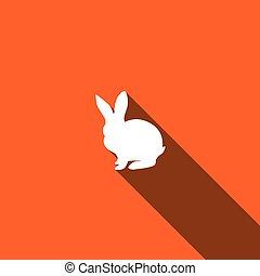 sombra, conejito, largo, icono