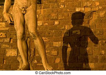 sombra, de, michelangelo\'s, david, en, pared, piazza della...