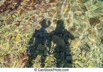 sombra, de, pareja joven