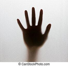 sombra, de, um, blurry, dê, a, copo geado