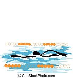 sombra, desporto, caricatura, homem, natação
