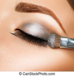 sombra, eyeshadows., ojo, cepillo, make-up.