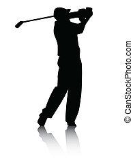 sombra, golfista, silueta