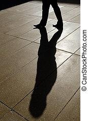 sombra, homem negócios