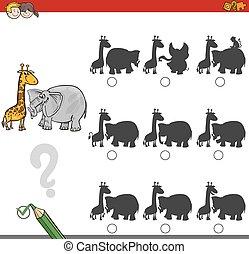 sombra, jogo, atividade, com, animais safari
