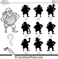 sombra, jogo, com, pirata, para, coloração