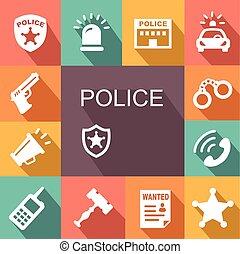 sombra, jogo, polícia, ícones