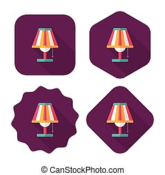 sombra, lámpara, eps10, icono, tabla, plano, largo