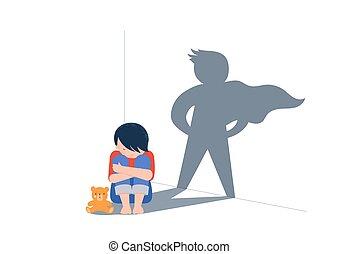 sombra, niño, teddy, poco, wall., contra, violencia, design., sentado, abuso, piso, niños, triste, superhero, concepto, oso, niño