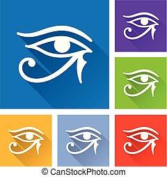 sombra, olho, longo, horus, ícones