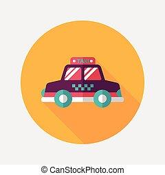sombra, transporte, ícone, eps10, táxi, apartamento, longo