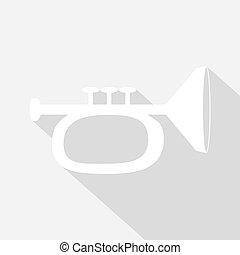 sombra, trompeta, largo, icono