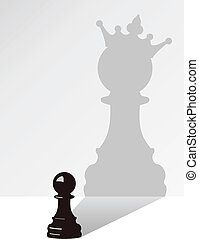 sombra, vector, ajedrez, peón