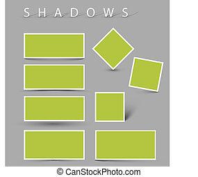 sombra, vector, conjunto, efectos
