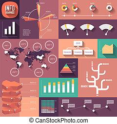 sombras, apartamento, desenho, longo, infographics