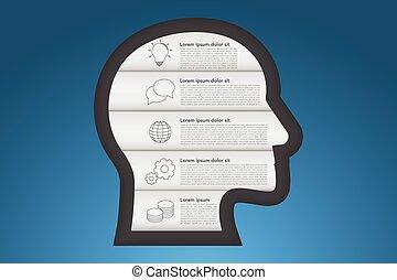 sombras azuis, estilo, esboço, ícones negócio, gradiente, timeline, infographic., cabeça, cinco, passos, forma, 5, infographics, origami, lavrado, surface.