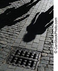 sombras, de, pessoas, ligado, rua