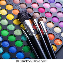 sombras, escovas, maquilagem, maquiagem olho