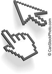 sombras, flecha, punto, mano, cursores, pixel, 3d