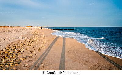 sombras, jersey., tarde, poder, largo, capa, nuevo, playa