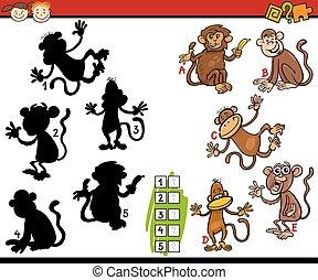 sombras, juego, educación, caricatura