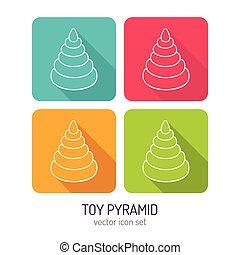 sombras, juguete, color del arte, variaciones, largo, cuatro, pirámide, vector, conjunto, línea, icono