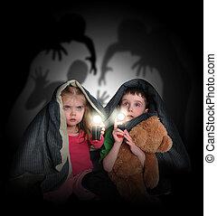 sombras, mirar, espantado, niños, noche