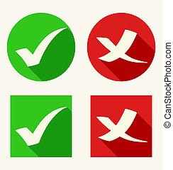 sombras, plano, estilo, iconos, largo, marca, cheque