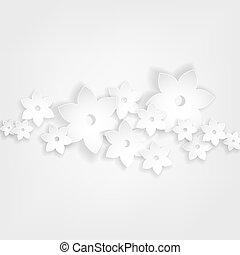 sombras, resumen, flores, blanco