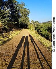 sombras, três, estrada
