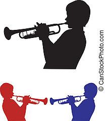 sombras, tres, trompetista