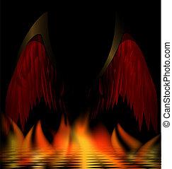 sombre, ailes, ange