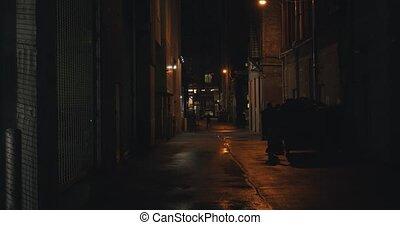 sombre, allée, coup, night., establishing
