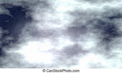 sombre, animation, ciel, nuageux, nuit