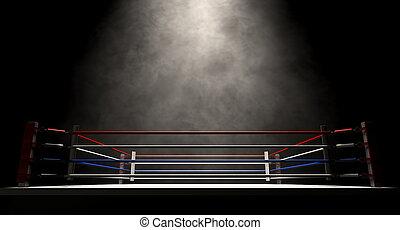 sombre, anneau, boxe, spotlit