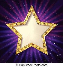 sombre, arrière-plan., étoile, or