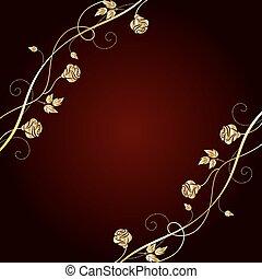 sombre, arrière-plan., fleurs, or