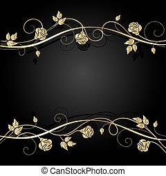 sombre, arrière-plan., ombre, fleurs, or