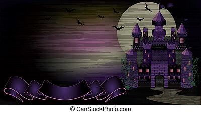 sombre, bannière, vecteur, sorcière, château