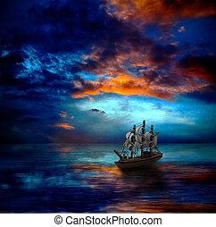 sombre, bateau, mer