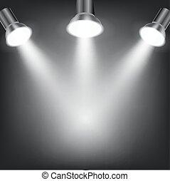 sombre, blanc, projecteurs, fond