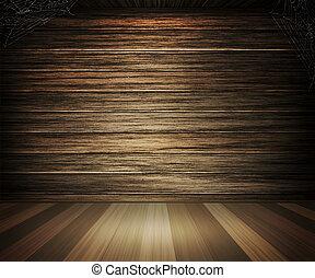 sombre, bois, intérieur, vieux, fond