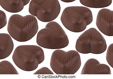 sombre, bonbons, chocolat forme coeur