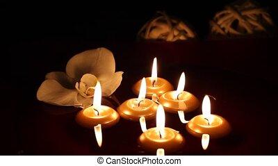 sombre, bougies, flotter, -, orchidée